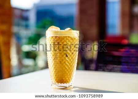 Ice Coffee Latte at afternoon sun light #1093758989