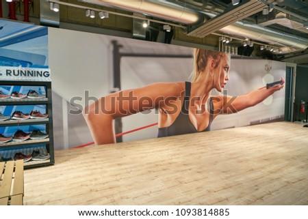 MILAN, ITALY - CIRCA NOVEMBER, 2017: inside Adidas store in Milan. #1093814885