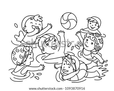 Children play in swimming pool without color