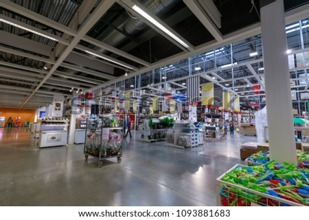 Portland, Oregon - May 14, 2018 : Interior of the Ikea store. IKEA is the world's largest furniture retailer. #1093881683