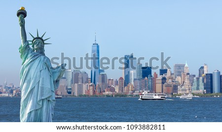 New York, USA - May 9, 2018 : The statue of Liberty with World Trade Center background, Landmarks of New York City. #1093882811