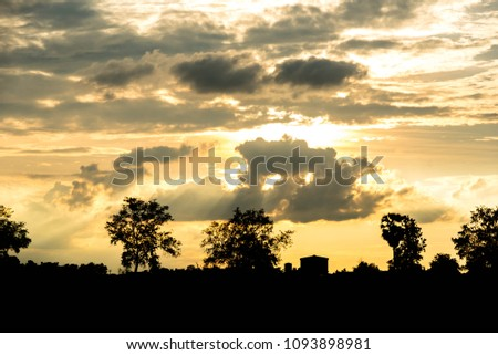 sunset sky clouds with silhouette landscape #1093898981