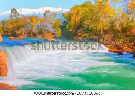 Manavgat Waterfall against Taurus Mountains - Manavgat Antalya #1093910366