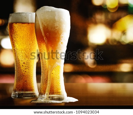 beer in bar and free space for your decoration.  #1094023034