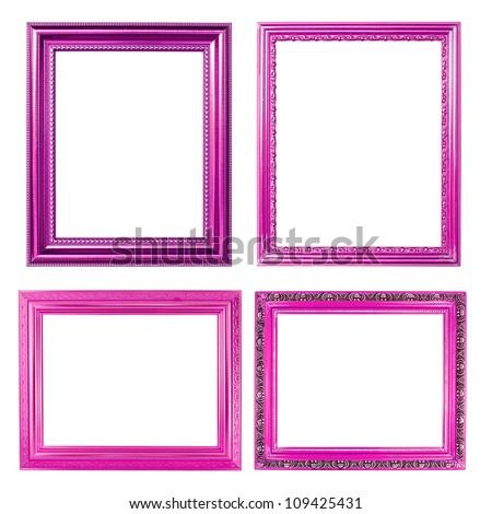 4 pink frame on white background