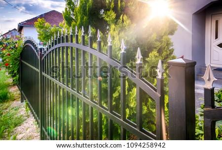 fence iron, metal fence Royalty-Free Stock Photo #1094258942