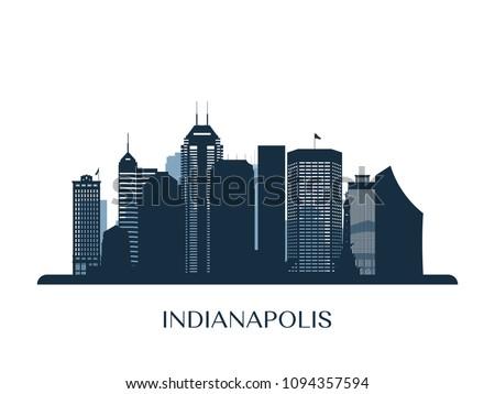Indianapolis skyline, monochrome silhouette. Vector illustration.