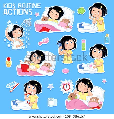 Daily routine of a cute little girl with dark hair - Set of eight good morning and good night routine actions - Isolated - Blue background