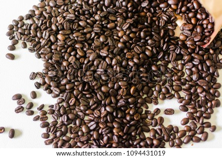 Coffee beans on a white background. #1094431019