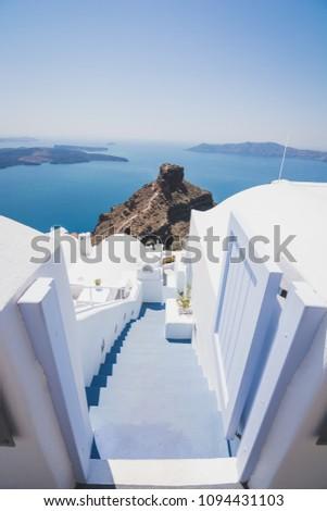 View at the Skaros rock Santorini trough stretch ladder #1094431103