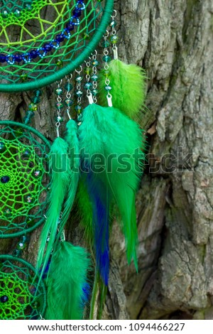 Dream catcher with feathers threads and beads rope hanging. Dreamcatcher handmade #1094466227