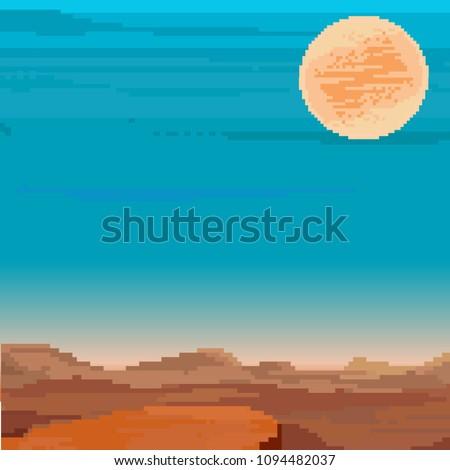 Pixel art background, retro sunrise or sunset. Background for pixel game. 8 bit.