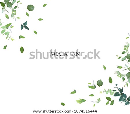 Herbal minimalistic vector frame. Hand painted plants, branches, leaves on white background. Greenery wedding invitation. Watercolor style. Natural card design. All elements are isolated and editable. Royalty-Free Stock Photo #1094516444