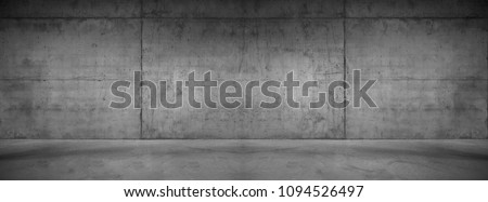 Wide Concrete Texture Background Wall with Floor Panorama for Composing Royalty-Free Stock Photo #1094526497