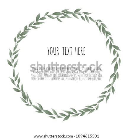 Vector bay leaves wreath. Template for wedding invitation and save the date cards Royalty-Free Stock Photo #1094615501