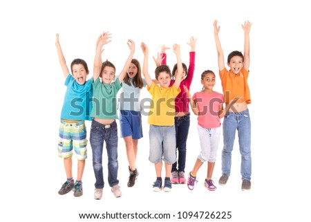 little kids isolated in white background #1094726225