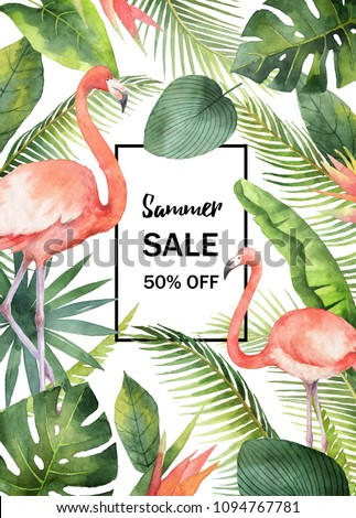 Watercolor summer sale banner of tropical leaves and the pink Flamingo isolated on white background. Illustration for design wedding invitations, greeting cards, decor.