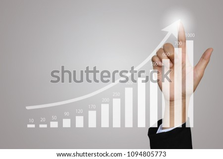Businesswoman drawing graphic of financial symbols and stock market in accounting market economy analysis, display data of growing business with bar, line chart on visual touch screen. #1094805773