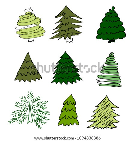 Firs. A set of handmade drawings. Elements for the design of postcards, backgrounds, packaging. Printing for clothing. Doodle drawing