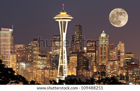 The lights come on in Seattle with a full moon