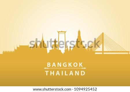 Beautiful golden silhouette of Bangkok Thailand travel landmark background wallpaper vector eps10 #1094925452