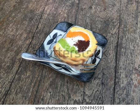 cream swiss roll cake #1094945591