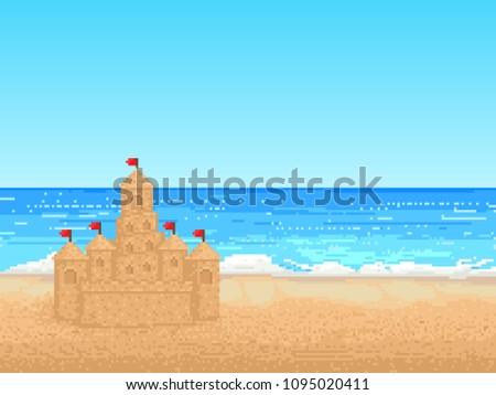 landscape. sea and sand castle. pixel vector illustration. 8 bit