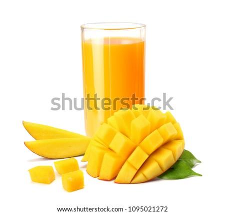mango juice with mango slice isolated on white background. glass of mango juice. #1095021272