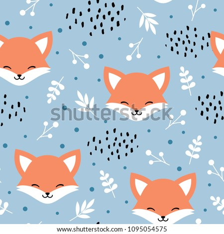 Cute fox seamless pattern, wolf hand drawn forest background with flowers and dots, vector illustration