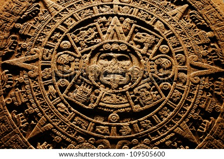 Aztec calendar - End of the World 12.12. 2012 Royalty-Free Stock Photo #109505600