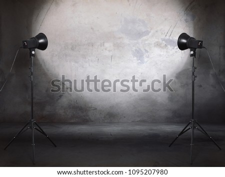 photo studio in old grunge room with concrete wall, urban background #1095207980