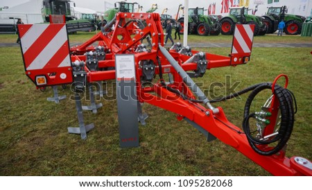 Bednary / Poland - September, 22, 2017: Exhibition of agricultural machinery and equipment AgroShow. New modern models of agricultural machinery #1095282068