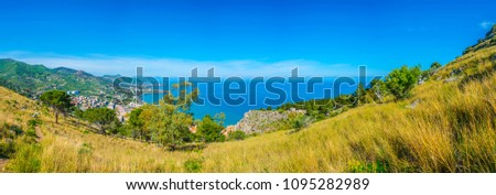 Aerial view of the sicilian town cefalu, Italy #1095282989
