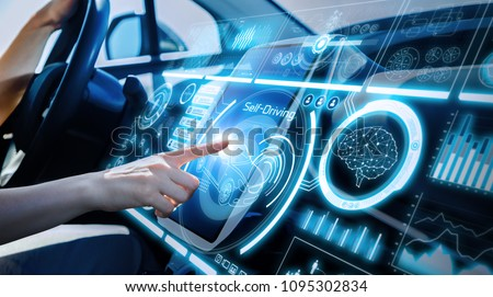 Futuristic instrument panel of vehicle. #1095302834