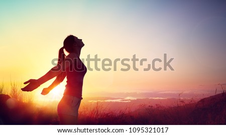 Freedom And Healthy Concept - Beautiful Young Girl Against Sunset #1095321017
