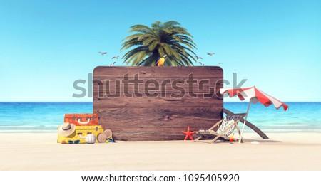 Summer time holiday background 3D Rendering, 3D Illustration