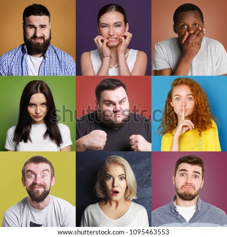 Different emotions collage. Set of male and female emotional portraits. Positive and negative feelings mosaic. Young diverse people grimacing on camera at colorful studio backgrounds #1095463553