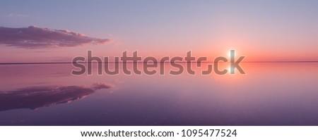 Landscape beautiful golden sunset red sky solt lake saline Elton Baskunchak. The sun sets behind the horizon #1095477524