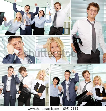 Collage of tired businesspeople in office #109549115