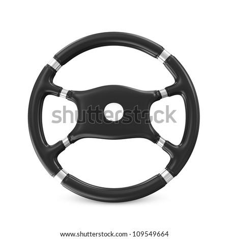 Black Steering Wheel on white background #109549664