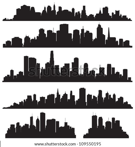 Set of vector cities silhouette Royalty-Free Stock Photo #109550195