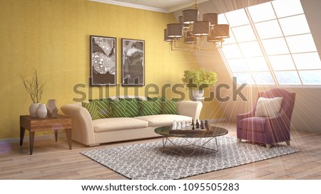 Interior living room. 3d illustration #1095505283