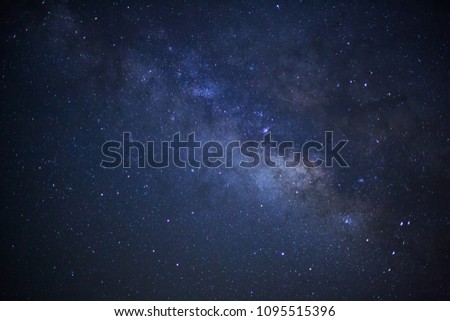 milky way galaxy and space dust in the universe, Long exposure photograph, with grain. #1095515396