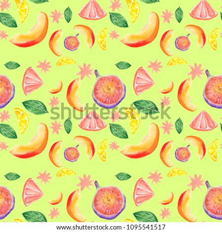 watercolor hand-drawn seamless pattern, with multi-colored exotic fruits #1095541517