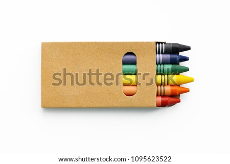 A small box of color pencils. Mock up Royalty-Free Stock Photo #1095623522