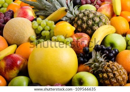 still life of big  heap multi-coloured fruits, horizontal background #109566635