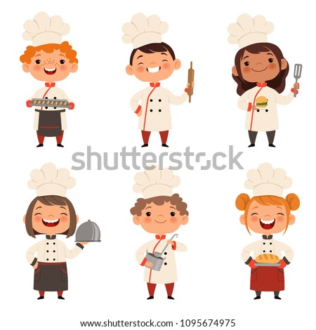 Characters set of children cooks. Cartoon mascots in various dynamic poses. People boy and girl chef in white hat, vector illustration Royalty-Free Stock Photo #1095674975