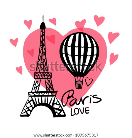 Vector hand draw Air Balloon and Paris Eiffel Tower isolated on pink heart and white background