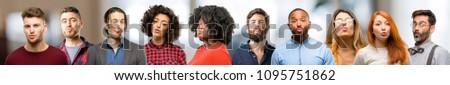 Group of people expressing love, blows kiss at camera, flirting #1095751862