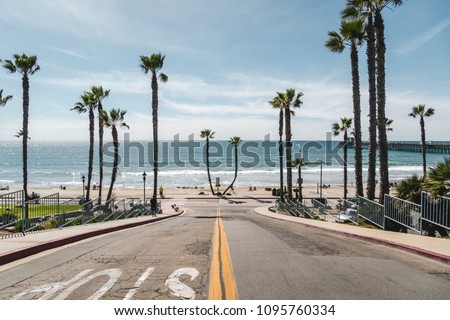 Oceanside Pier, California / USA - March 2018: Views from and around the Oceanside Pier and beach. #1095760334